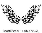 illustration of wings in tattoo ...   Shutterstock .eps vector #1532470061