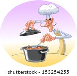 the chef cooked soup | Shutterstock .eps vector #153254255