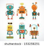 set of cute vintage robots | Shutterstock .eps vector #153258251