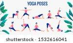 various yoga poses set. female...   Shutterstock .eps vector #1532616041