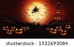 halloween pumpkins at cemetery... | Shutterstock . vector #1532693084