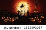 halloween pumpkins at cemetery... | Shutterstock . vector #1532693087