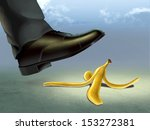 businessman about to slip on a... | Shutterstock . vector #153272381