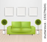 green sofa bed with and picture ... | Shutterstock . vector #1532796041