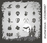 halloween icons with halloween... | Shutterstock .eps vector #153280487