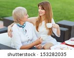 adult mother and daughter... | Shutterstock . vector #153282035