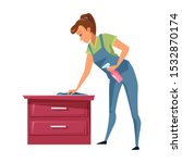 Young Woman Dusting Flat Vector ...