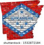 Arkansas Map On A Brick Wall  ...