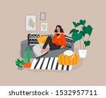 girl girl sitting and resting... | Shutterstock .eps vector #1532957711