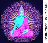 Sitting Buddha Over Colorful...