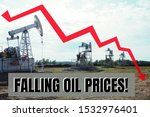 "Small photo of A few oil rigs in the box say ""falling oil prices"" and a declining graph with a red and white arrow."