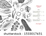 vector hand drawn restaurant... | Shutterstock .eps vector #1533017651