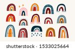 various rainbows. kids drawing... | Shutterstock .eps vector #1533025664
