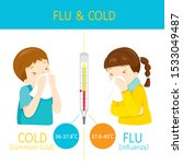 boy and girl with influenza and ... | Shutterstock .eps vector #1533049487