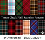 Set Tartan Plaid Scottish Seamless Pattern. Texture from tartan, plaid, tablecloths, shirts, clothes, dresses, bedding, blankets and other textile. Vol 92