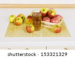 apple juice in a glass on a... | Shutterstock . vector #153321329