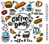 cute doodle coffee shop icons....   Shutterstock .eps vector #1533223187