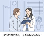 the female doctor is talking to ... | Shutterstock .eps vector #1533290237