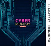 cyber monday sale with circuit... | Shutterstock .eps vector #1533349544