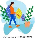 Stock vector girl walking with dog flat illustration 1533417071