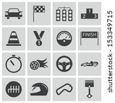 vector black  racing icons set | Shutterstock .eps vector #153349715