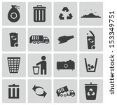 vector black  garbage icons set | Shutterstock .eps vector #153349751