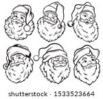 Set Of Santa Claus Faces....