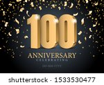 anniversary 100. red 3d numbers.... | Shutterstock .eps vector #1533530477