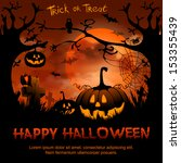 halloween night background with ... | Shutterstock .eps vector #153355439