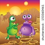 Two Cartoon Alien Creatures On...