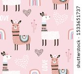 seamless pattern with llama... | Shutterstock .eps vector #1533651737