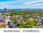 Aerial view of the Christiania neighborhood in Copenhagen, Denmark.