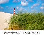 Amrum Lighthouse Behind Dune...