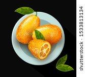 exotic fruit kumquat with green ... | Shutterstock .eps vector #1533813134