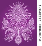 henna lace paisley flower vector | Shutterstock .eps vector #153384641