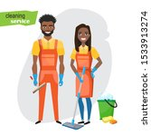 professional cleaners team.... | Shutterstock .eps vector #1533913274