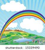 rainbow above earth. vector.