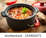 tasty spicy chili con carne... | Shutterstock . vector #153403271