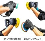 Small photo of Set of car polish wax worker hands holing polishing tools isolated on white background. Buffing and polishing car concept. Man holds a polisher in the hand and polishes.