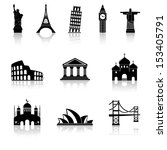 famous international landmarks icons - stock vector