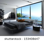 Stock photo fantastic bedroom interior with grey bed with bedsheets against huge window with panoramic view 153408647