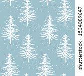 christmas firs seamless pattern.... | Shutterstock .eps vector #1534089647