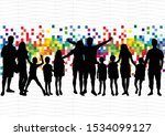 family silhouettes . abstract... | Shutterstock .eps vector #1534099127