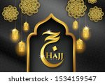 the word hajj in arabic and the ... | Shutterstock .eps vector #1534159547