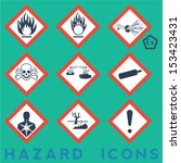hazard icons  9   1 package... | Shutterstock .eps vector #153423431