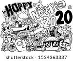 new year 2020 doodle hipster... | Shutterstock .eps vector #1534363337