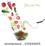 fresh salad folling down on... | Shutterstock . vector #153444695
