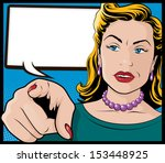 vintage pop art woman with... | Shutterstock .eps vector #153448925