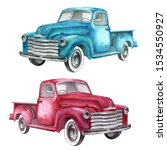 Watercolor Retro Truck. Hand...