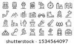 Hiking Icons Set. Outline Set...